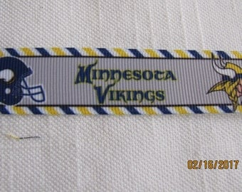 "Minnesota Vikings  7/8"" Grosgrain Ribbon by the Yard"