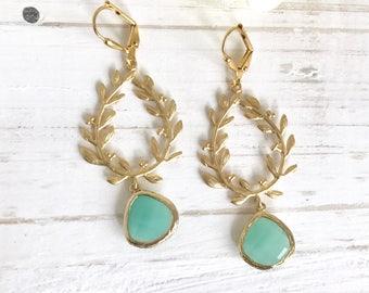 Aqua Teardrop and Gold Branch Teardrop Dangle Earrings.  Long Gold Dangle Earrings.  Fashion Jewel Earrings.