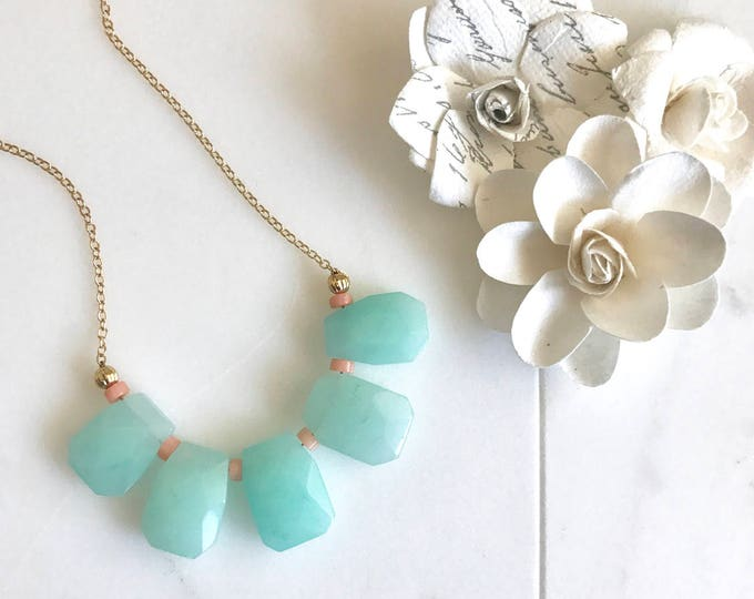 Bib Necklace in Aqua and Peach. Statement Jewelry. Bib Statement Necklace. Gift.  Modern Jewelry.  Mint Statement Jewelry.  Modern.