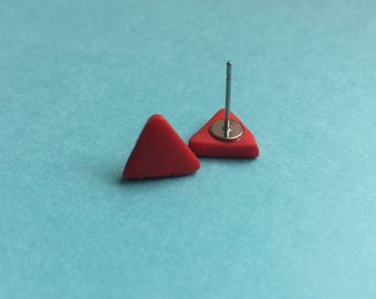 Red stud earrings, red triangle studs, red studs, red clay earrings, red clay studs, colourful earrings, fun earrings, statement earrings