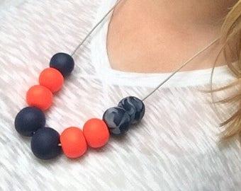 Neon necklace, clay bead necklace, navy necklace, orange necklace, statement necklace, chunky necklace
