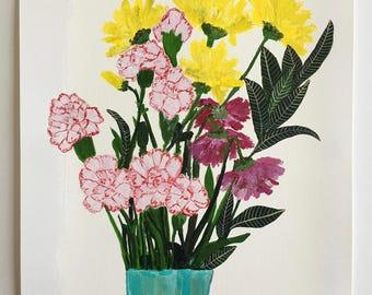 Acrylic still life painting // Pluto no. 15 // original art // illustration on paper // flower painting