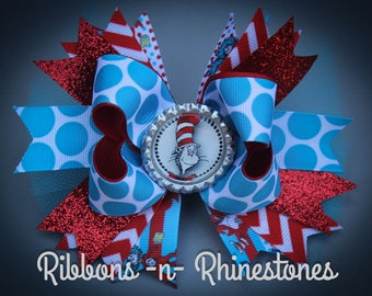 Cat in the Hat Bow, Cat in the Hat Party Bow, Cat in the Hat Birthday Bow, Dr. Suess Bow, Dr Suess Party Bow, Dr Suess Birthday Bow,