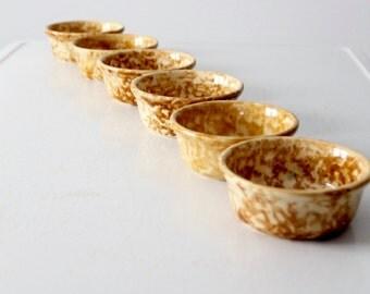 antique Bennington Rockingham pottery bowl set/6, spongeware cereal bowls