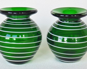 Pair Of Deep Green & Embossed White Trimmed Hand Blown Glass Vases