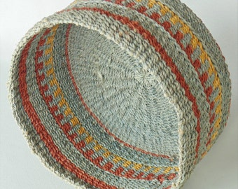 African Woven Basket Soft Light Green With Gold And Burnt Orange