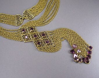 Goldette Style, Multi Strand, Waterfall ,Extra Long, Purple Crystal, Necklace Unsigned, Open Back Channel Set, Boho, Vintage Jewelry