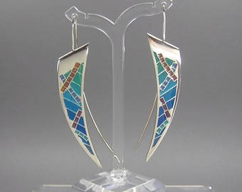 Plique a Jour Earrings, Sterling Silver, 80's Artisan, Retro, Signed MB, Stained Glass, Statement Earrings, Daggers, Enamel, Vintage Jewelry