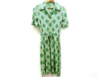 Italian Silk Dress Made in Italy by Fedeli - Vintage 1960s Green and White Print - Size Small - Spring & Summer Fashion