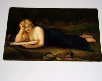 Stengel Postcard, Reclining Woman Reading