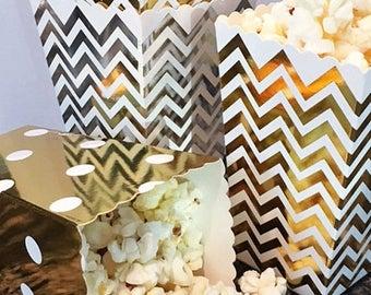 GLAM SALE 12 Gold Foil Mini Favor Boxes, Wedding Favor Boxes, Gold Metallic Mini Popcorn Boxes, Cookie Favor Boxes, Snack Boxes, Party Treat