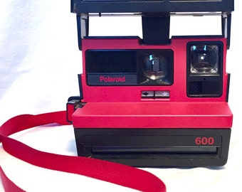 Vintage Hot Red and Black Retro 80s Polaroid Cool Cam ZAZZY and film tested