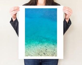 Blue ocean photography print, serene coastal decor. Greek Islands art photo, minimal seaside modern wall art. Ionian Sea, Kefalonia, Greece