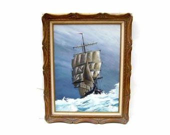 Vintage Tall Ship Painting Nautical Sailing Art Artist Fowler Large Framed Maritime Oil on Canvas Seascape Sailboat Schooner