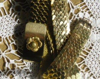 Vintage Belt - Gold Tone Belt, Fish Scale Stretch Belt, Dragon Scales Belt, Gold Tone Flower Buckle, Glamor Belt, Disco Belt