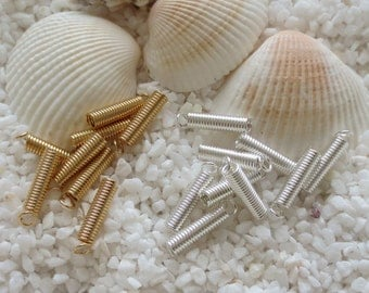 Cord Coil Ends - 12mm x 3mm - 50 pcs - CHOICE OF Silver or Gold Plate
