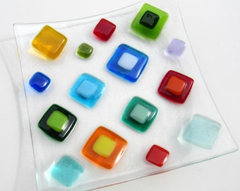 Fused Glass Plate, Bright Colorful Diamonds, Colorful Glass Plate, Modern Glass Plate