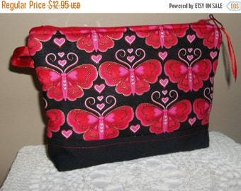 Red Butterflies, Butterfly ,Cosmetic Purse, Zippered pouch, Butterflies, Make up bag, Red and Black