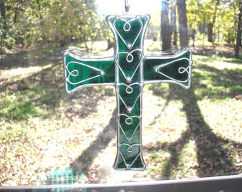 LT Stained Glass dark green Cross sun catcher, light catcher with hand formed wire heart overlays, my hand made in the USA, unique gift