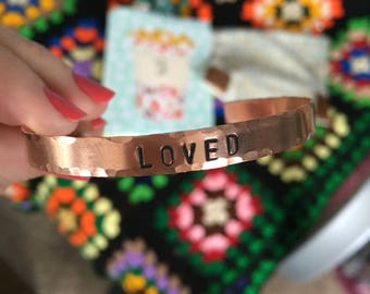 Personalized Skinny Copper Cuff, Custom Hand Stamped Bangle Bracelet, Inspirational Bracelet, Christian Gift