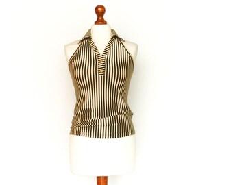 Vintage Halter Top / Open Back / Tube Top / Beige Black Stripes / Collar / medium small
