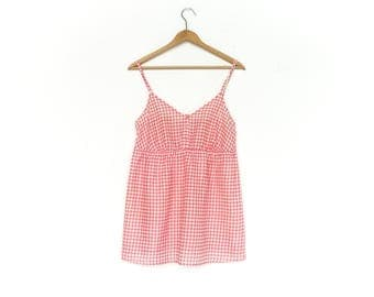 Vintage Gingham Top Blouse Tank Top / Peasant / Pink White / Empire Waist / Spaghetti Straps / medium