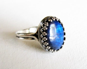 Labradorite Sterling Silver Ring Blue Gemstone Ring Natural AAA Labradorite Ring Wiccan Jewelry Gothic Victorian Jewelry Unique gift for her
