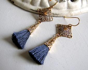 Art Deco Tassel Earrings 1920's Earrings Art Deco Earrings Gray Tassel Earrings Downton Abbey Earrings Great Gatsby Earrings 1920's Jewelrys