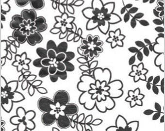 Tissue Paper, Retro Flowers 10 Sheets . Black  DIY Wedding Decor | Gift Wrap . Craft Supplies | DIY Pom Pom Supplies