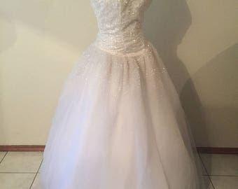White Beaded Sequins Princess Ballgown Wedding Dress Sale