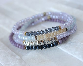 Purplicious - Skinny Stacker Beaded Bracelet Set