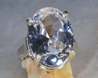 Luxuriously Grand Oval White Sapphire Ring