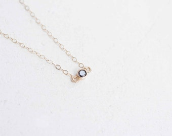 Petite Black Diamond Necklace | 14k Recycled Gold