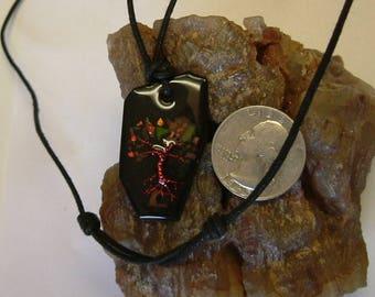 "Tree of Life Utah with Ammolite ""Leaves"" from Utah Deposit on Black Basalt Argentium Silver Wire Wrapped Pendant 669"