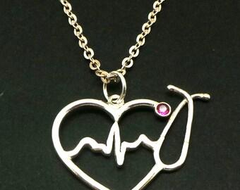 Silver Nurse HeartBeat Stethoscope Necklace - Nurse Charm, EKG, ECG Registered RN Practitioner Graduation Gift, lpn, bsn, Medical Assistant