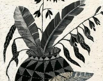 Art Print - Feathers and Decorative Pot of Scraperboard original