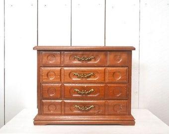 Flash Sale 25% Off Wood Jewelry Box 1960s Felt Lined Large Vintage Distressed Mid Century Tall Wood Trinket Dresser Storage