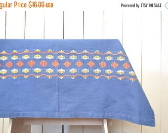 15% OFF Woven Southwest Tablecloth Vintage Indian Fabric Piece Small Blue Orange White 1970s