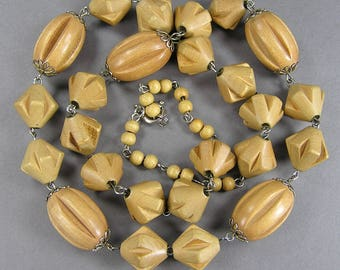 Carved Wood Necklace, Melon Bead, Vintage Necklace, Unusual Bead, 50's, 60's, Under 20