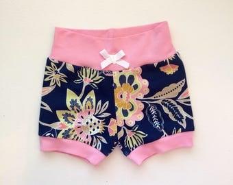 Navy Floral Hipster Baby Shorts / Baby Girl Shorts / Bubble Shorts