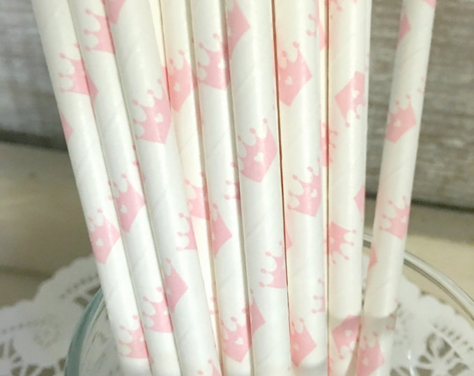 Princess Crown Paper Straws, Light Pink, Princess Party, Baby Shower, Party 25 straws