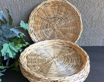 5 Vintage Paper Plate Holders Woven Bamboo Wicker - #H1018