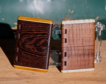 Handmade Wood Business Card Holders of Wenge & Canary Wood or Black Walnut / Curly Maple with integral wood hinge