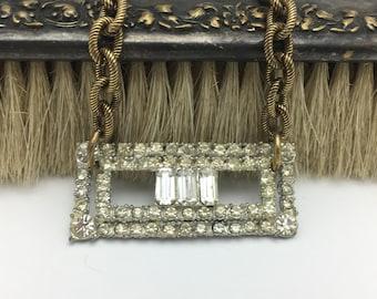 Rhinestone Brooch Necklace Vintage Necklace Rhinestone Necklace