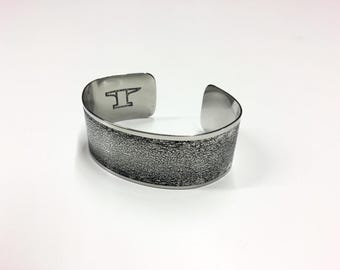 "Bordered Etched Cuff - Stainless Steel - 1"" wide"