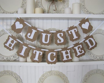 Just Hitched Wedding Banner, Wedding Sign, Wedding Decoration, Wedding Get Away Car, Honeymoon Sign, Just Married Sign