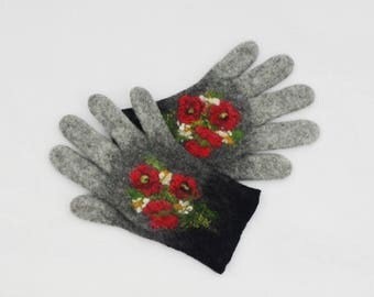 Felted Gloves Merino Wool Gray Shades Poppies