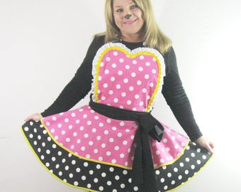Pink and White Minnie Mouse Apron  XL Headband Bow Included