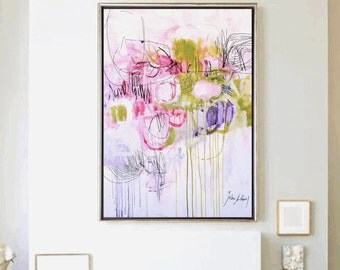 """40""""Art painting   rosa  green abstract  painting  nice acrylic painting from jolina anthony"""