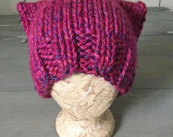 Pink Pussyhat, Hot Pink Pussy Hat, Charity Donation, azalea pussy, Women's March, counter protest, Hot Pink Knit Hat, Ready to ship, #resist